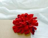 Felt Flower Brooch/ Bright red and orange/ Hand felted flower pin