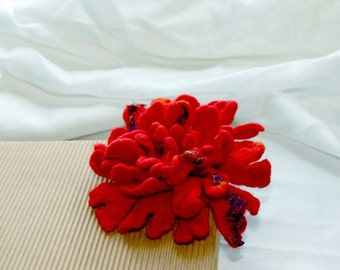 Felt Flower Brooch,, Bright red and orange, Hand felted flower pin, felt wool brooch
