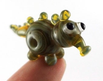 Swamp Monster Lampworked Glass Figurine Bead