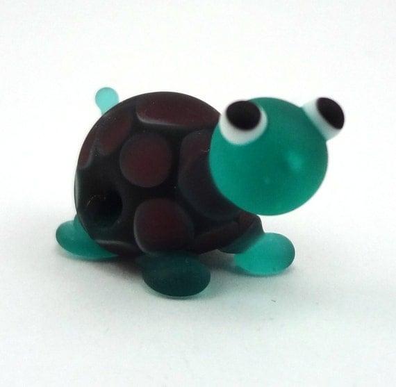 Teal and Purple Turtle Lampworked Glass Bead Figurine