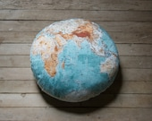 GLOBE map pillow DIY KIT, vintage style, 14 inch round, organic cotton, made to order