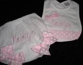 Katelyn Personalized Bib and Diaper Cover