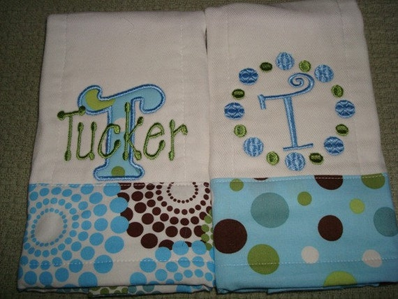 Tucker Personalized Bib and Burp Set