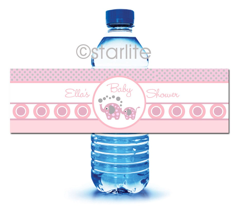 Elephant Baby Shower Printable Water Bottle Labels Elephant