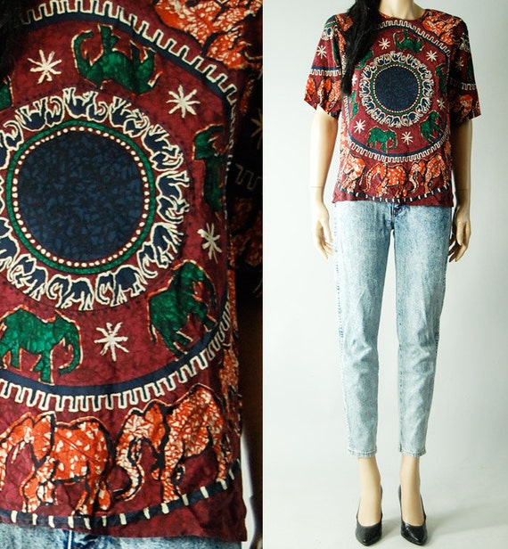 vintage silk abstract TRIBAL SLOUCH TOP womens s/m/l