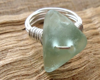 Sea Glass Ring, Soft Green on Sterling Silver Wire