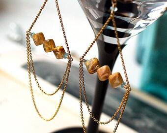 Statement Earrings. Golden Rutilated Quartz. Aquamarine. Gold Fill. Constellation