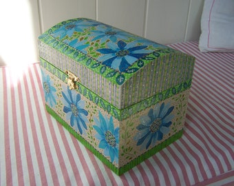 ART ON A BOX  A Jewelry / Keepsake /  Memory Box / Jewellery box  A unique hand painted designof flowers in shades of blue and green