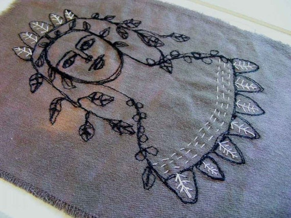 Original embroidery art - May queen, flower girl  - Free shipping