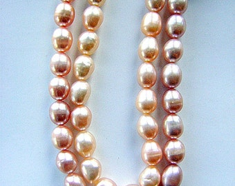PEARLS, NATURAL, RICE  Shape,6-7mm, Long Drill, 16 Inch, Soft Pink, Mauve