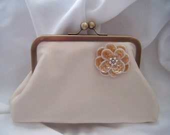 Champagne Silk Bridal Clutch - sequin flower clutch - Bride Clutch - Small Clutch - Clasp Clutch - Weddings - Ready To Ship - bridal clutch