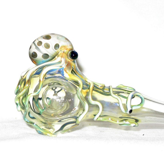 Octopus Spoon  Medium Long Fumed Color Changing Hand Blown Glass