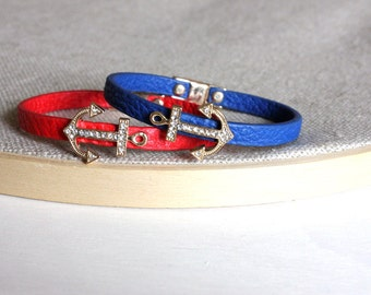 Archor Leather bracelet - Sweet blue bracelet with a gold charm