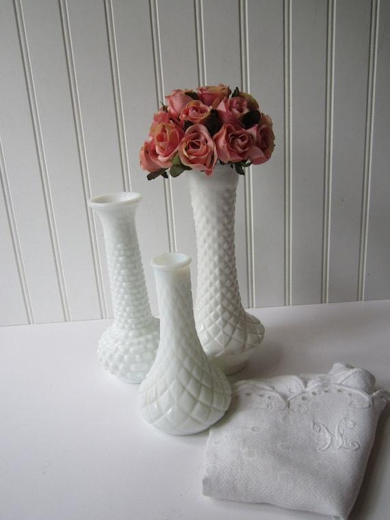 Vintage Milk Glass Bud Vase Collection of Three - EO Brody