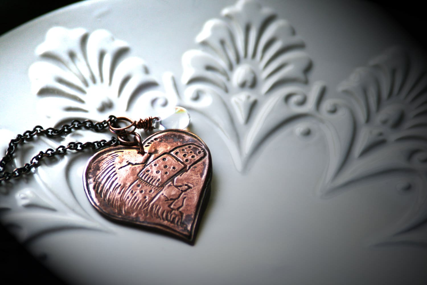 Broken Broken Heart With Bandage Copper Necklace With Ab Tear