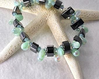 Ocean Tears magnetic bracelet, Stretch bracelet, Therapy bracelet for women, magnetic hematite bracelet, sea green bracelet