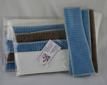Cloth Cotton Menstrual Pads 4 pack - 2 blue pads, 1 brown pad and 1 booster