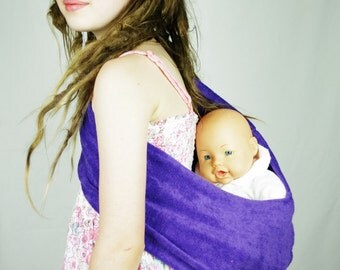 Purple Child's Pouch Sling for Dolls or Teddies suitable - 1-8 years