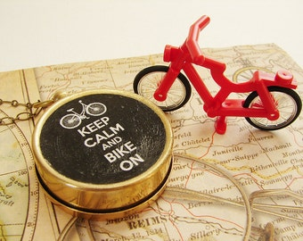 Keep Calm Bike On Compass necklace, keep calm carry on Keychain Compass Necklace, him dude graduation gift