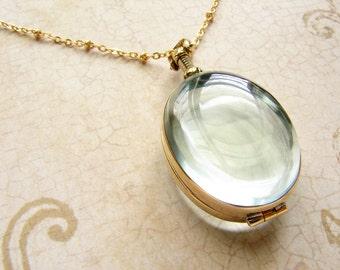 Oval beveled glass locket necklace, personalized oval heirloom custom glass locket necklace bridal wedding locket gift