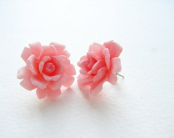 Vintage rose studs, vintage pink stud earrings, bridesmaid jewelry, statement pink rose post earrings, blush pink rose posts, gift for her