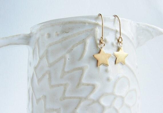 Star earrings, gold star dangle earrings, star drop earrings, Simple delicate dainty everyday earrings gift for teen girls