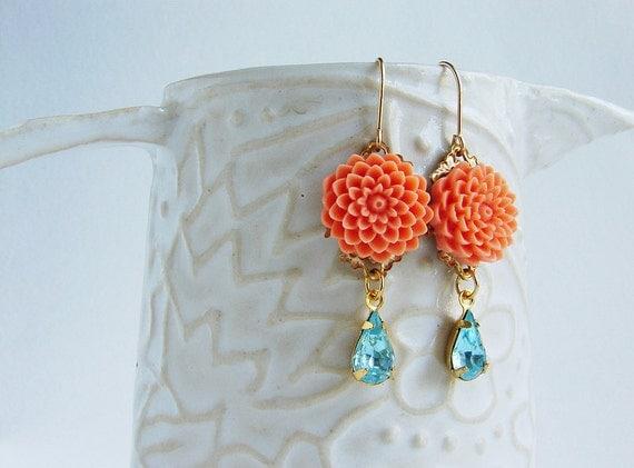 Orange flower aqua blue rhinestone dangle earrings, drop earrings, bridal earrings, bridesmaid jewelry