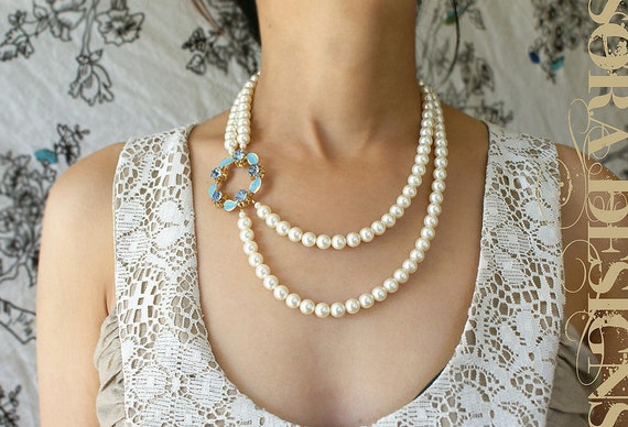 statement necklace, cocktail party Tiffany blue bridal necklace, wedding jewelry, floral statement necklace, vintage brooch Pearl Necklace