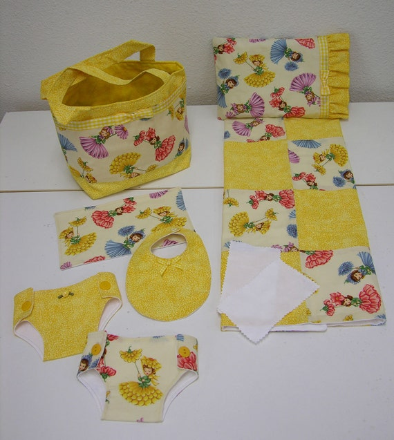 Bitty Baby Basics in Flower Petal Girls- Diaper Bag and Diapers with Blanket and Pillow