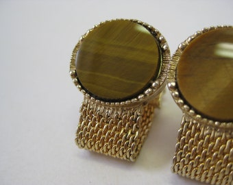 Tiger Eye Cuff Links Gold Round Vintage