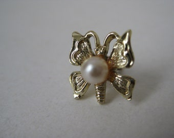 Butterfly Tie Tack Gold Pearl Vintage Pin
