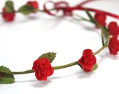 Red Roses Tiara, Miniature Polymer Clay Flowers Hair Accessories