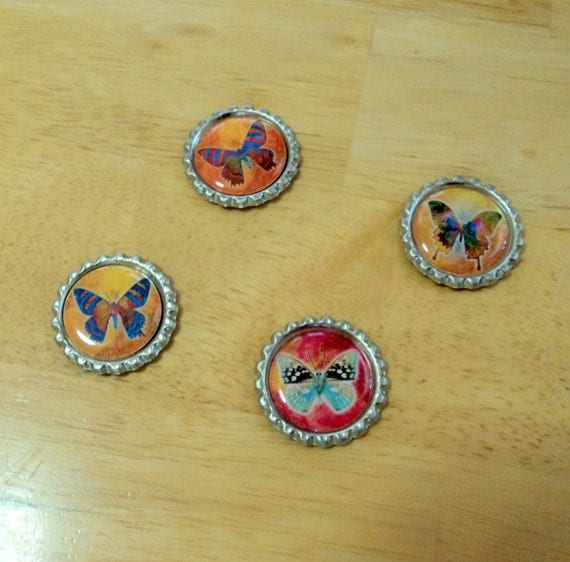 Magnets 4 Bottlecap Colorful Butterflies 1 Inch Round