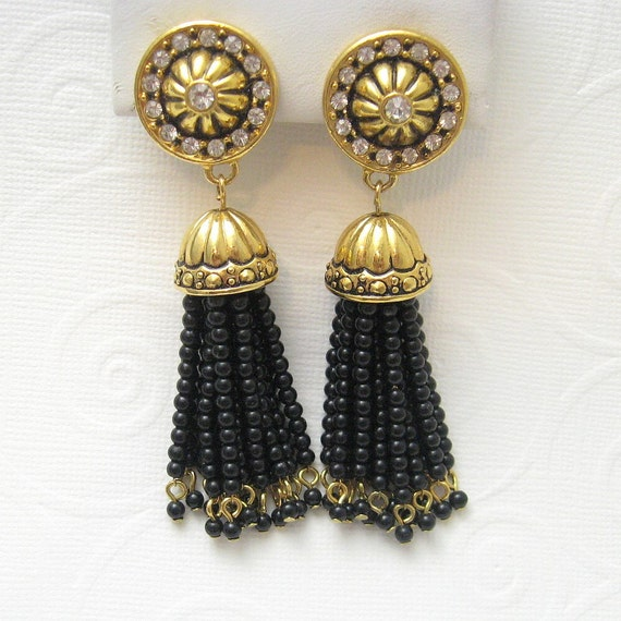 Long Black Bead and Rhinestone Earrings Avon E4659
