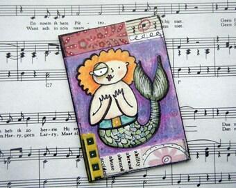 Modest Mermaid, original ACEO art