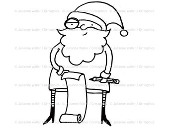 Santa with List Digital Stamp Clipart