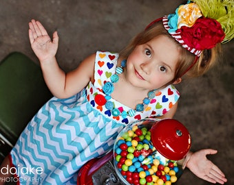 M2M Turquoise Heart Candy Chevron Dress by Palm Tree Princess Chunky Necklace for girls