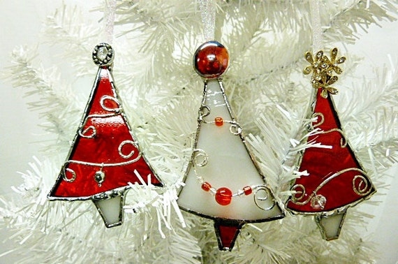 Red and white stained glass christmas tree ornaments set of for White tree red ornaments