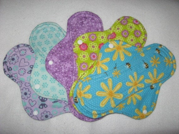 "Cloth menstrual pads set of five 10"" in assorted prints"