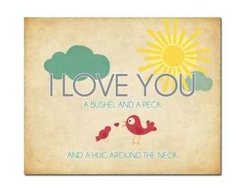 11x14 I Love You a Bushel and a Peck - Digital Art Printable (.JPG 300DPI to Print On Your Own) - Instant Download
