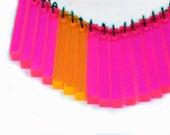 Neon Pink Orange Bib Necklace - Day Glo Fushia and Tangerine Fringe - Vintage Lucite Long Rectangle Drops - Geometric - MySelvagedLife