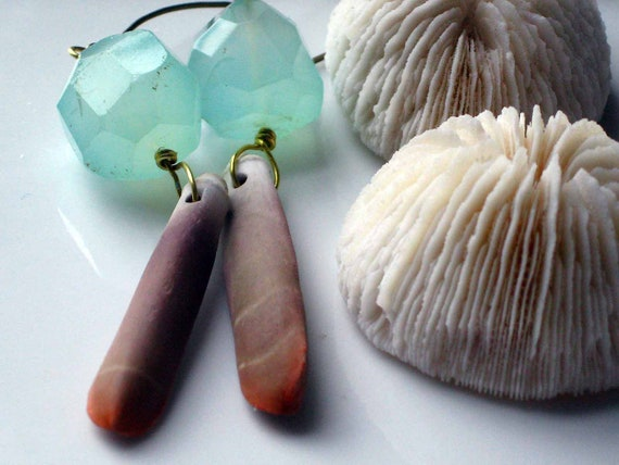 Spiny Sea Urchin Earrings with Aqua Blue Faceted Agate Chunky Dangles Beachcomber Gift Box