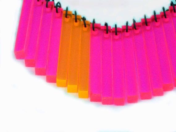 Neon Pink Orange Bib Necklace - Day Glo Fushia and Tangerine Fringe - Vintage Lucite Long Rectangle Drops - Geometric