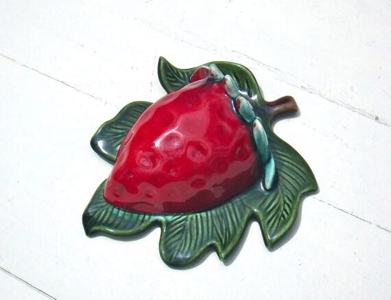 Vintage California Pottery - Treasure Craft Red Strawberry Wall Pocket