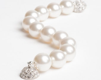 White Swarovski Pearl Bracelet with Crystal and Silver Clasp - Archipelago