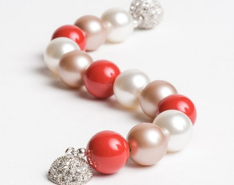 Swarovski Pearl Bracelet in Bright Coral Red White Almond with Crystal and Silver Clasp - Soda Fountain