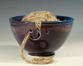 Yarn bowl ceramic, knitting crochet porcelain, glazed in purple blue, handmade by hughes pottery