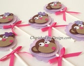 Set of 6 Pink Monkey Themed Cupcake Toppers