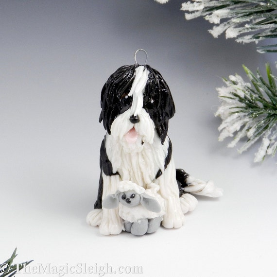 Bearded Collie Ornament Figurine Sheep Porcelain