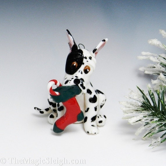 Great Dane Dog Ornament with Christmas Stocking Porcelain